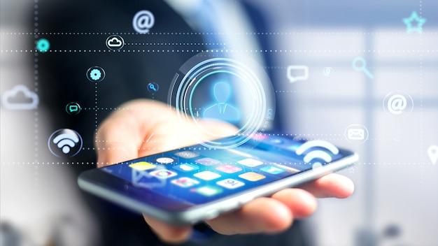 Zakenman die een smartphone met een contactpictogram gebruiken die door app en sociaal 3d pictogram omringen - geef terug