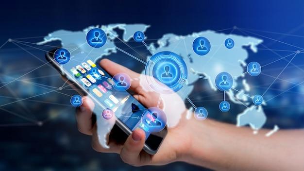Zakenman die een smartphone met een netwerk over een verbonden 3d wereldkaart gebruiken - geef terug