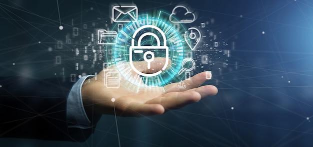 Zakenman die een veiligheid hangslot wiel pictogram met multimedia en sociale media pictogram