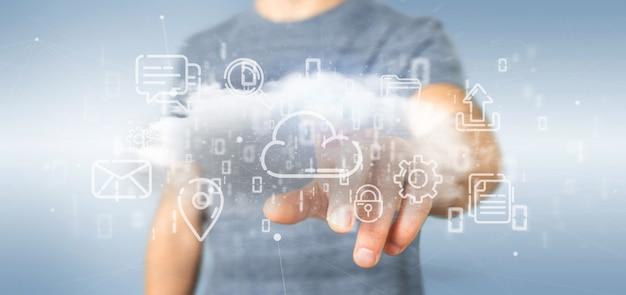 Zakenman die een wolk van multimedia-pictogram