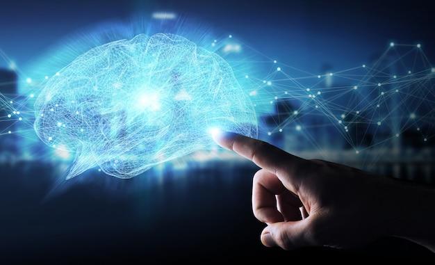 Zakenman die het digitale x-ray menselijke herseneninterface 3d teruggeven gebruiken