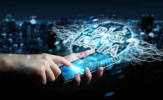 Zakenman die het grote hologram van het gegevens digitale 3d teruggeven gebruiken