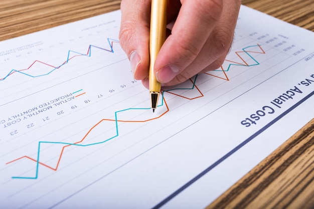 Zakenman die investeringsgrafieken analyseert