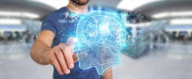 Zakenman die kunstmatige intelligentie creëert