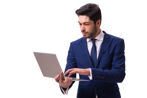 Zakenman die met geïsoleerde laptop werkt
