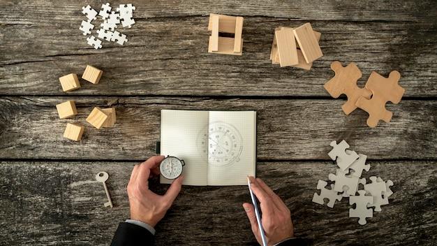 Zakenman die plannen en bedrijfsstrategiebeslissingen neemt terwijl hij een kompas schetst dat hij in zijn notitieboekje houdt.