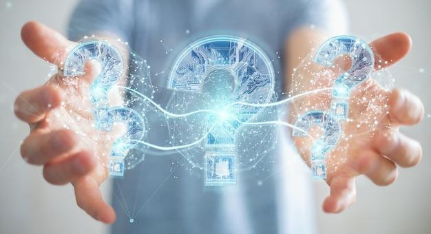 Zakenman die probleem met het digitale vraagtekens 3d teruggeven oplossen