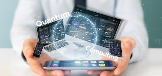 Zakenman die quantum gegevensverwerkingsconcept met qubit en apparaten het 3d teruggeven houden