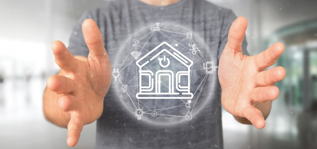 Zakenman die slimme huisinterface met pictogram, statistieken en gegevens houden