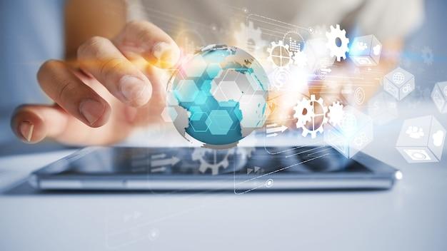 Zakenman die wereldwijde netwerkverbinding houdt. business netwerk communicatie concept
