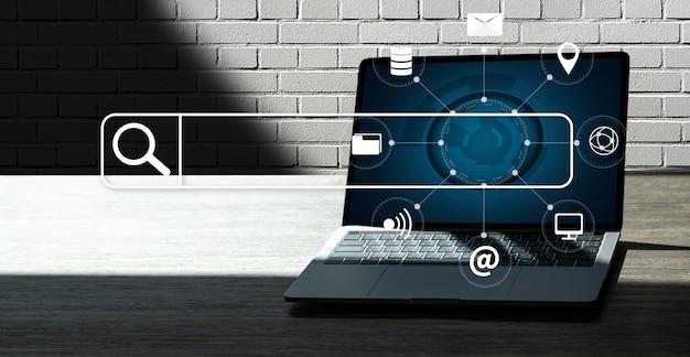 Zakenman die zoeken doorbladerend internet internet van dingen gebruiken