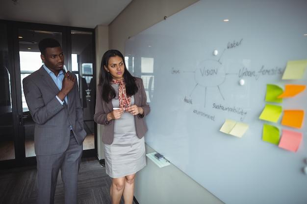 Zakenman en een collega kijken naar wit bord in vergaderruimte