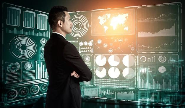 Zakenman en hologrammen van big data en technologie