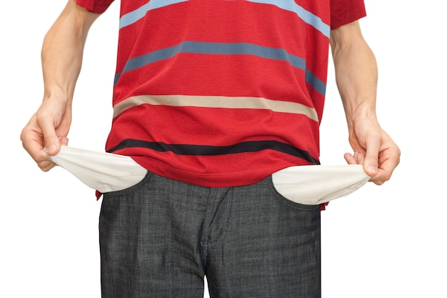 Zakenman failliet. handen met twee lege zakken