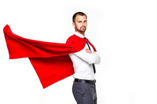Zakenman gekleed als superheld geïsoleerd op een witte achtergrond