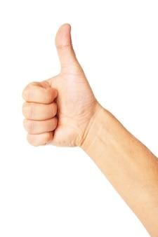 Zakenman hand met duim omhoog, zoals en indrukwekkend concept