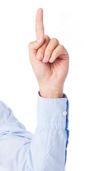 Zakenman hand naar boven wijst