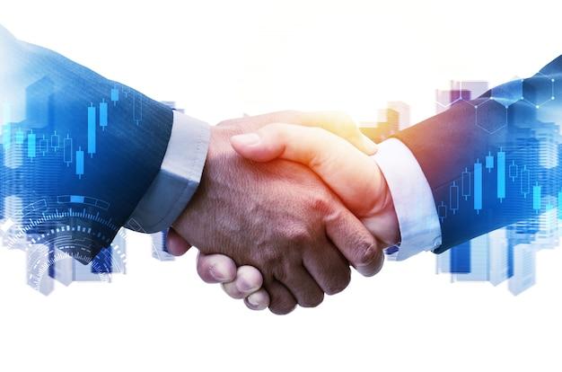 Zakenman hand schudden met wereldwijde netwerklinkverbinding, grafiek grafiek grafisch diagram