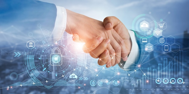 Zakenman handdruk van zakelijke partners succesvol van investeringsovereenkomst over economische groei grafiek
