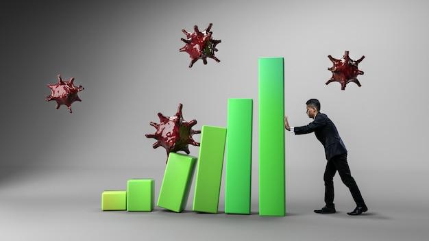 Zakenman hold om statistiek te bevestigen. groene 3d-statistiek hit by virus. coronavirus vernietigt economisch concept.