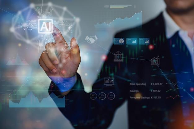 Zakenman interactie met kunstmatige intelligentie om te investeren concept van toekomstige zaken