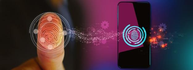 Zakenman login met vingerafdruk scantechnologie. vingerafdruk om persoonlijk, beveiligingssysteemconcept te identificeren