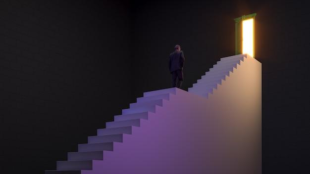 Zakenman loopt op de trap naar de deur van de mogelijkheid voor loopbaanontwikkeling