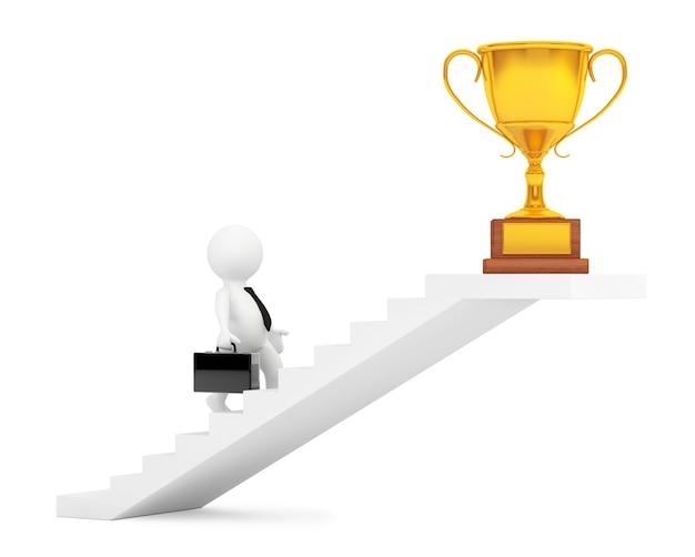 Zakenman lopen trap naar trofee winnen prijs op een witte achtergrond. 3d-rendering Premium Foto