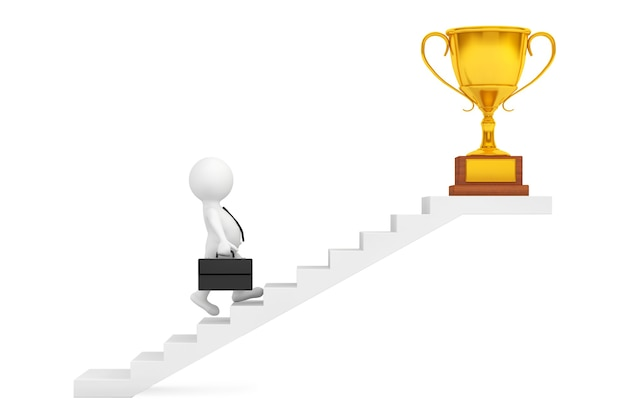 Zakenman lopen trap naar trofee winnen prijs op een witte achtergrond. 3d-rendering