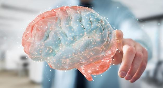 Zakenman met behulp van digitale 3d-projectie van een menselijk brein