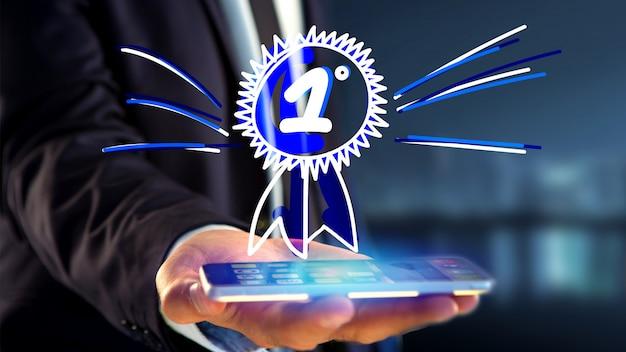 Zakenman met behulp van een smartphone met een hand getrokken beloning voor de nummer één