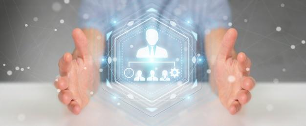 Zakenman met behulp van zakelijke leiderschap grafiek, 3d-rendering