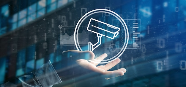 Zakenman met beveiligingscamera systeempictogram en statistieken gegevens -