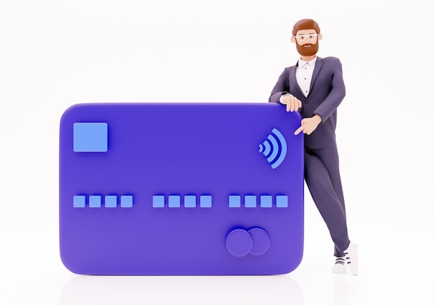 Zakenman met blauwe creditcard. 3d illustratie karakter met 3d bankkaart geeft terug.