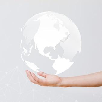 Zakenman met de wereld in zijn hand