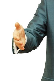 Zakenman met een open hand