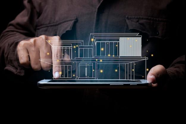 Zakenman met een tablet in de hand en aan te raken op het scherm