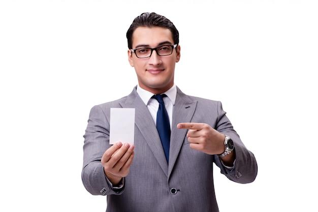 Zakenman met lege die kaart op wit wordt geïsoleerd