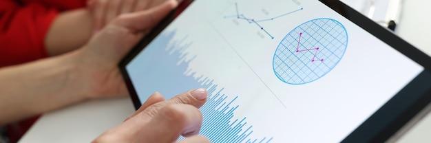 Zakenman met tablet met grafieken en diagrammen in zijn handen op de werkplek