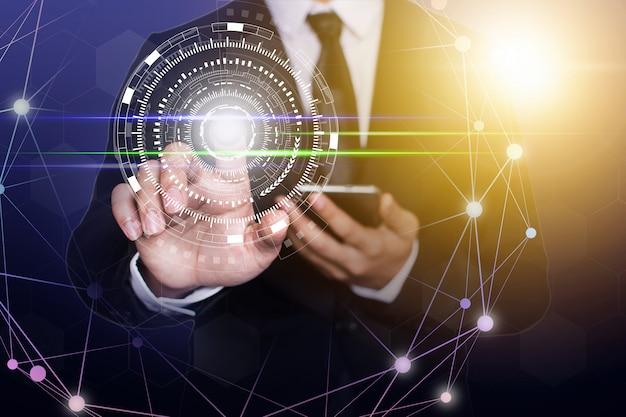 Zakenman netwerktechnologie en communicatie