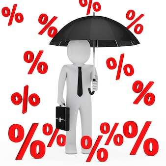 Zakenman onder een regen van percentages