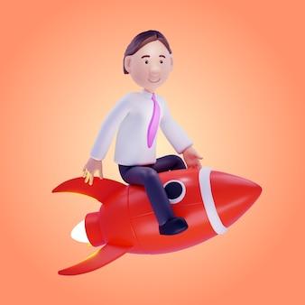 Zakenman op een raket. 3d illustratie