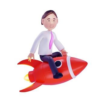 Zakenman op een raket. geïsoleerd op wit. 3d illustratie