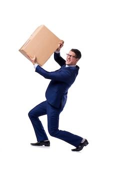 Zakenman opheffende doos die op wit wordt geïsoleerd
