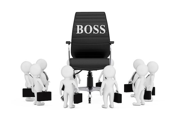Zakenman personen rond zwart lederen baas bureaustoel met baas teken op een witte achtergrond. 3d-rendering