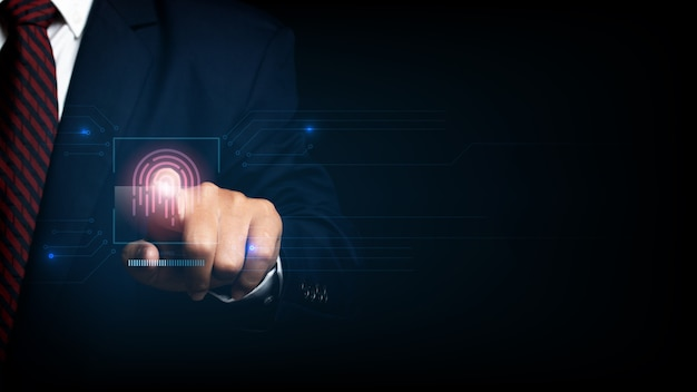 Zakenman scan vingerafdruk biometrische identiteit en goedkeuring. bedrijfstechnologie veiligheidsconcept.