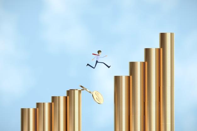 Zakenman springen op veel munten abstract idee concept kunst 3d illustratie