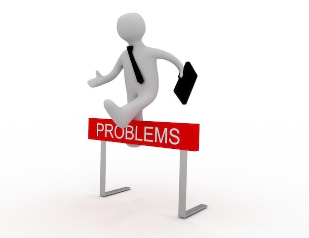 Zakenman springen over een hindernis met de titel problemen