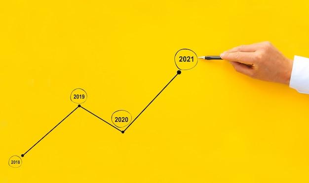 Zakenman tekent de groeigrafiek in vergelijking met voorgaande jaren ontwikkelingsbedrijf en groeiend concept