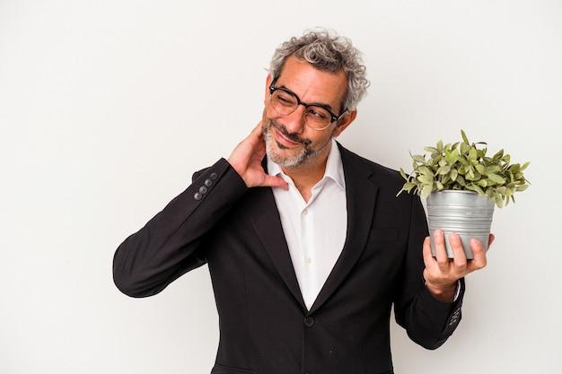 Zakenman van middelbare leeftijd met een plant geïsoleerd op een witte achtergrond die de achterkant van het hoofd aanraakt, denkt en een keuze maakt.